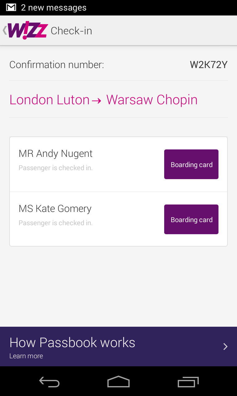 Passwallet Wizz Air Above Mobile